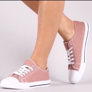 Mauve Canvas Lace Up Sneakers